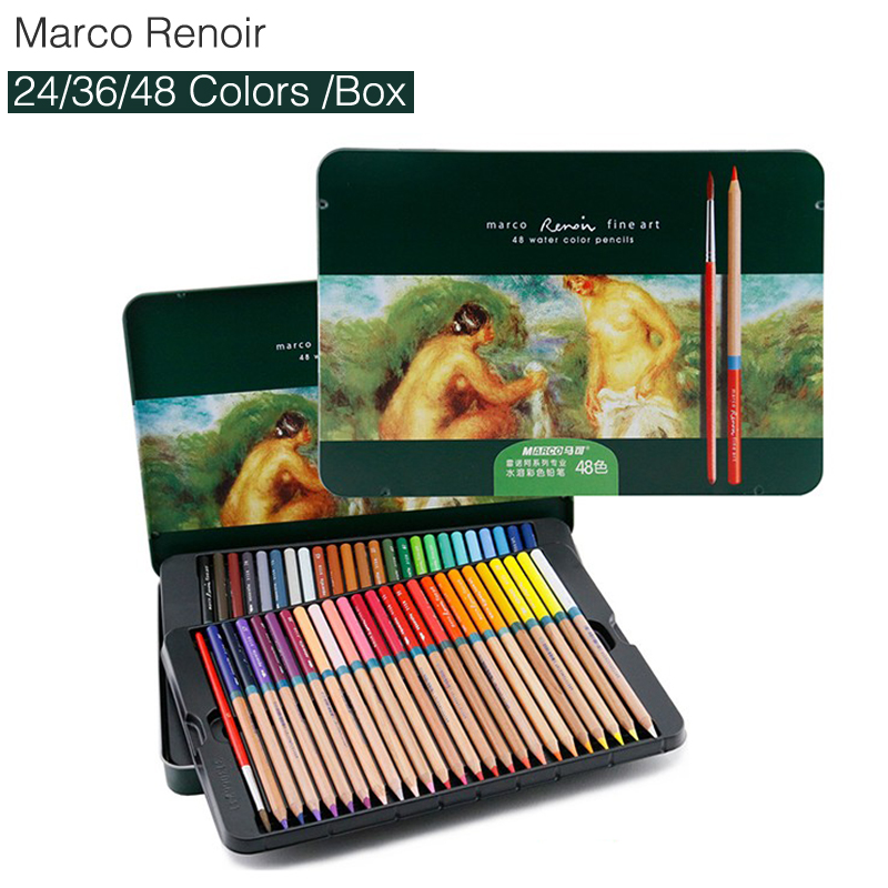 Marco Renoir 3120 Color Pencil Set 24/36/48 Painting Pen watercolor pencils coloring draw for school student stationery lapices mungyo stationery set 12 24 48 color art solid watercolor painting pigment write iron box packaging