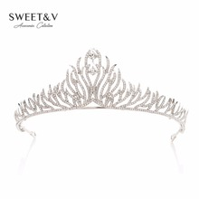 Rhinestone Tiara Crystal Crown Princess Headpieces Women Hair Jewelry Costume Accessories for Wedding Birthday Party Prom