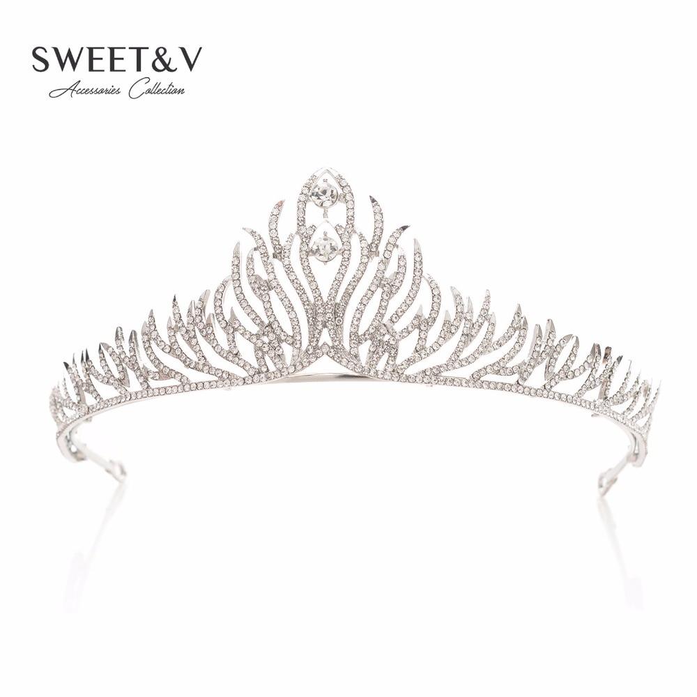 Rhinestone font b Tiara b font Crystal Crown Princess Headpieces Women font b Hair b font