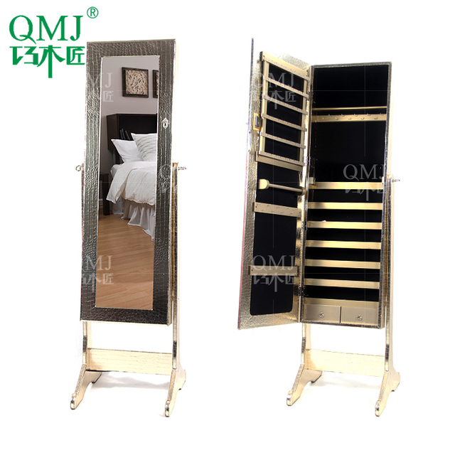 New Luxury Large Wooden Dressing Mirror Floor With Jewelry Armoire Furniture Storage For Makeup Organizer