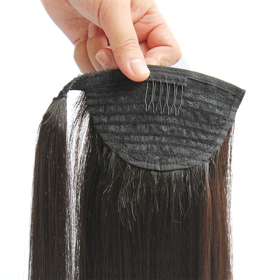 DIFEI 24 '' Lång Straight Clip In Hair Tail False Hair Ponytail - Syntetiskt hår - Foto 5