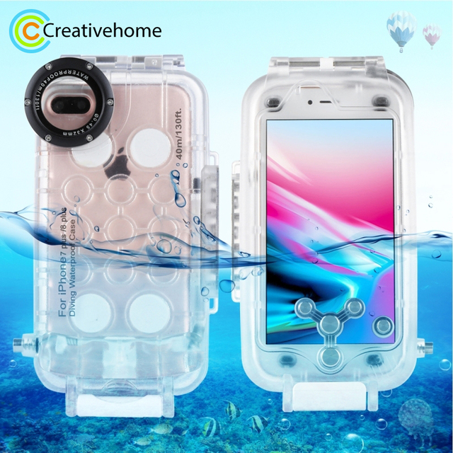detailed pictures eecce 442eb US $49.99 15% OFF|For iPhone 7 Plus Case 40m/130ft Underwater Camera  Housing Photo Taking Waterproof Diving Case Cover for Apple iPhone 8  plus-in ...