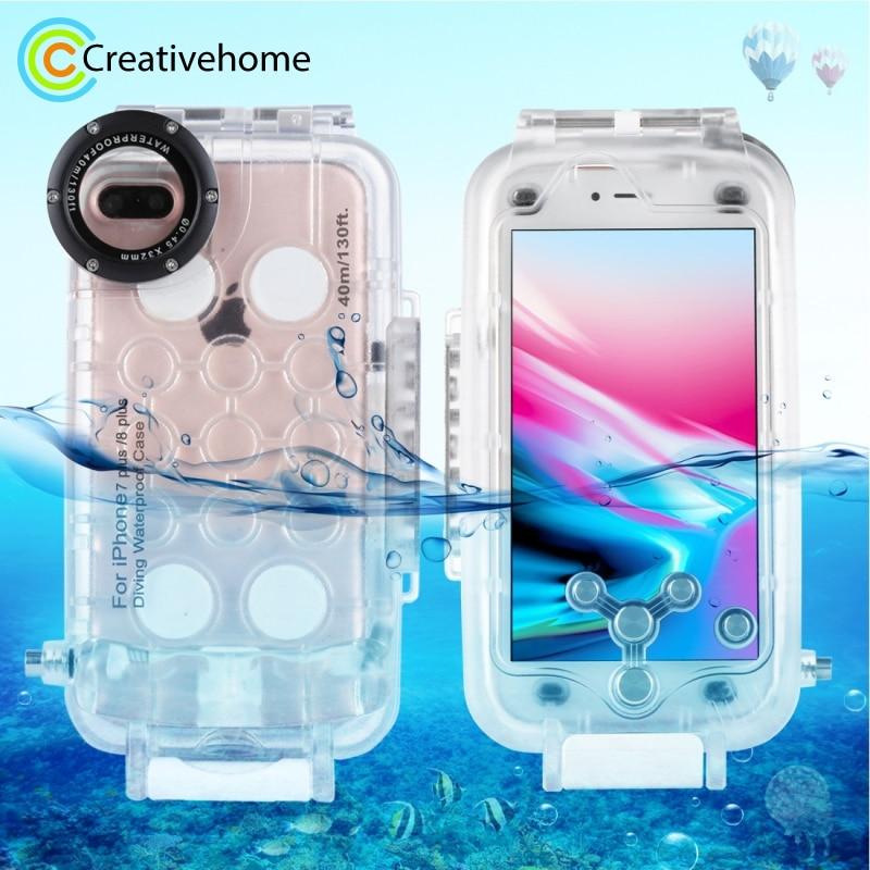 Pour iPhone 7 Plus Cas 40 m/130ft Logement Caméra Sous-Marine Photo Prise Étanche Couverture de Plongée de Cas pour Apple iPhone 8 plus