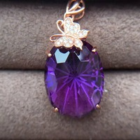 Natural amethyst Pendant 925 silver rose golden Free mailing.High cleanliness.