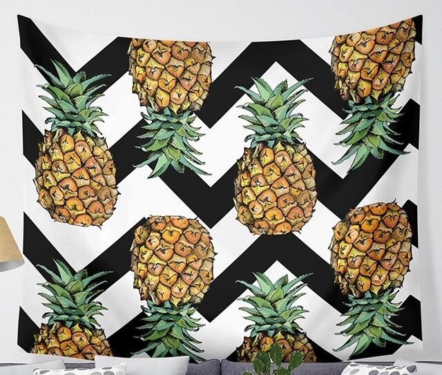 CAMMITEVER Onde Ananas Frutta Arazzo Poliestere Tende Più Copertura di Tabella Appeso A Parete Arazzo Decor
