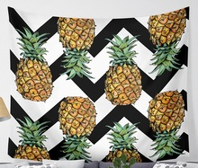CAMMITEVER Waves Pineapple Fruit Tapestry Polyester Curtains Plus Table Cover Wall Hanging Tapestry Decor