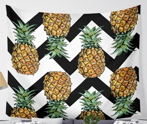 Image 1 - CAMMITEVER Waves Pineapple Fruit Tapestry Polyester Curtains Plus Table Cover Wall Hanging Tapestry Decor