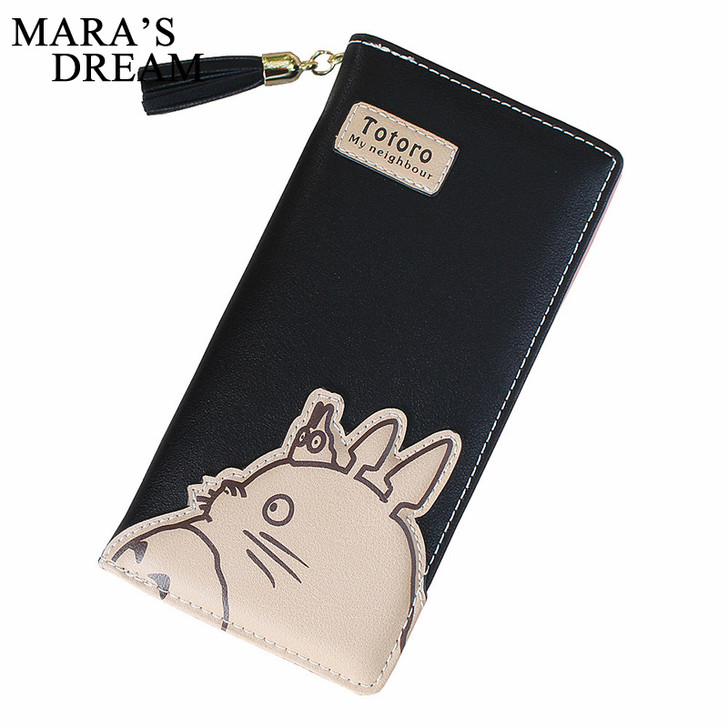 Mara's Dream 2018 Women Wallet Cartoon Animation Long Leather Wallet Cute Totoro Tassels Zipper Clutch Coin Purse Card Holder anime my neighbour totoro cute card bag wallet holder zipper kawaii gray hanging