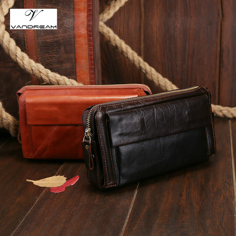 2017 Cowhide Genuine Leather Men Long Design Wallets Male Business Fashion Zipper Clutch Bag Men's Purse Man Card Holder Handbag long wallets for business men luxurious 100% cowhide genuine leather vintage fashion zipper men clutch purses 2017 new arrivals