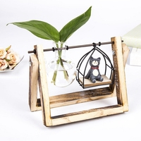 Modern Decoration Wood Artistic Glass Water Vase Nordic Country Decorative Crafts Office Home Decoration Hydroponics Ornament