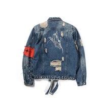 Fashion Classic Jacket Men Broken Zipper Denim Mens Graffiti Hip Hop Cowboy Jackets Male