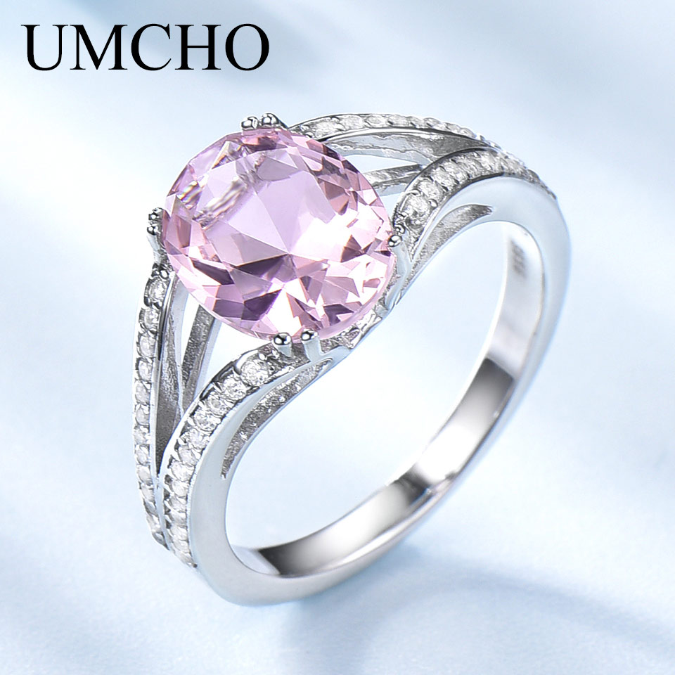 UMCHO Solid 925 Sterling Silver Rings For Women Silver 925 Ring Pink Morganite Gemstone Ring Wedding Band Romantic Party GiftUMCHO Solid 925 Sterling Silver Rings For Women Silver 925 Ring Pink Morganite Gemstone Ring Wedding Band Romantic Party Gift
