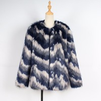 T0743 Europe and United States Fashion Women Clothes imitation Faux fur Coat Stripes Female Autumn and Winter Women's Coat