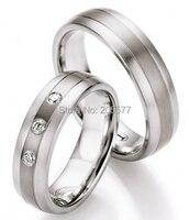 Роскошные Пользовательские портной ручной titanium Нержавеющая сталь камень CZ обручальные кольца наборы для обувь для мужчин и женщин