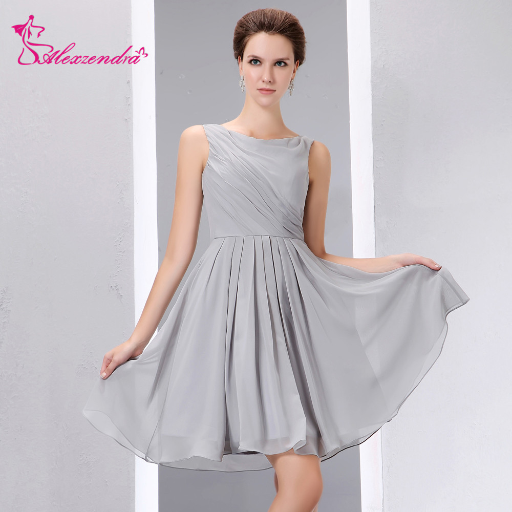 Alexzendra Silver Chiffon Mini Simple   Prom     Dresses   Customize Special Party Gowns