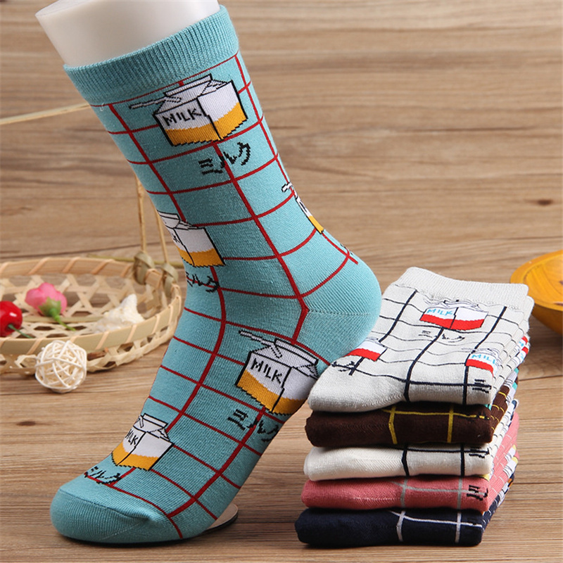 2018 Summer Spring Harajuku Women   Socks   Cotton Milk Box Plaid Cute Sox with Print Female Casual   Sock   Ladies Funny   Socks