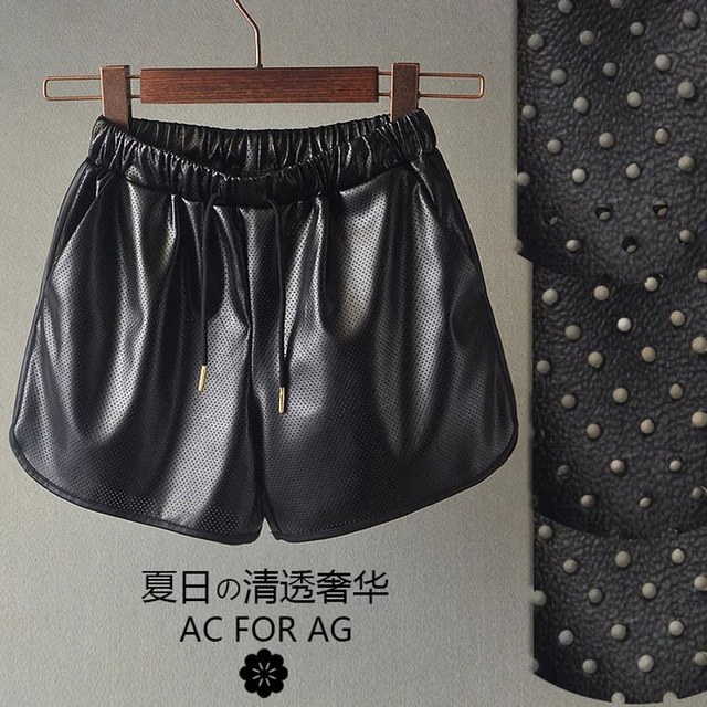 2016 summer new European style elastic waist elastic waist perforated PU leather shorts shorts female casual wide leg shorts