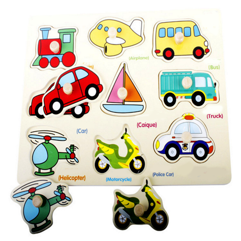 1 pc childrens educational wooden transportation car helicopter boat puzzles cognitive jigsaw