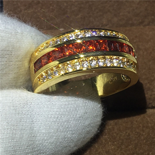 3 Colors Round Male Band Ring Garnet 5a Zircon Stone Party Wedding For Men