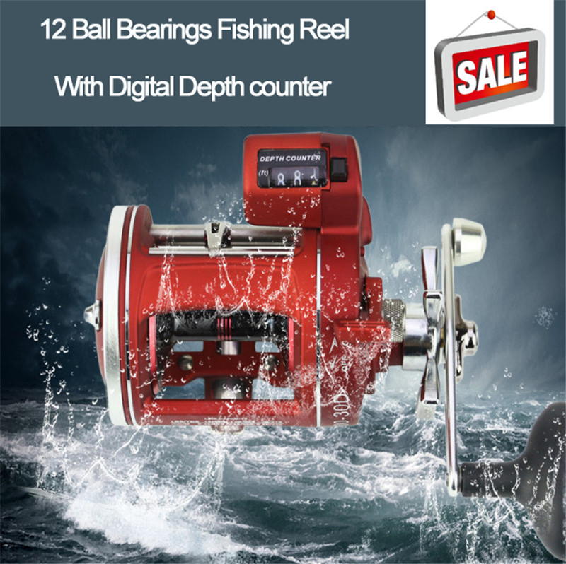 12 Ball Bearings Fishing Reel with Digital display Depth counter High Strength Baitcasting Drum Lure Boat