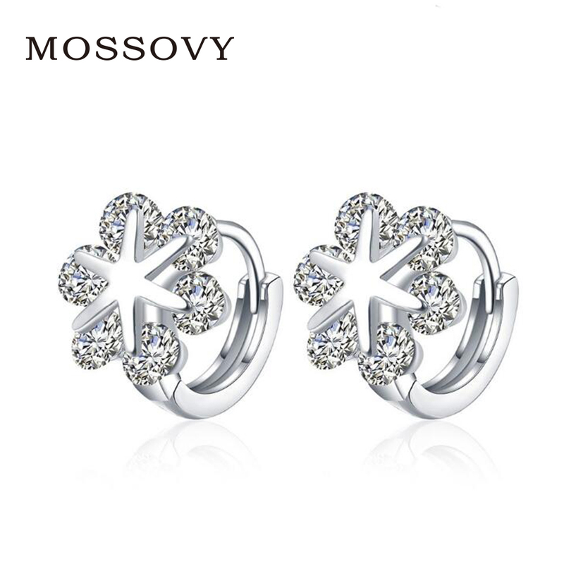 Mossovy Rhinestone Snowflake Stud Earrings Flower Zircon Accessories  Exquisite Earring Fashion Jewelry Gift Bijoux for Women 9c30054d0f01