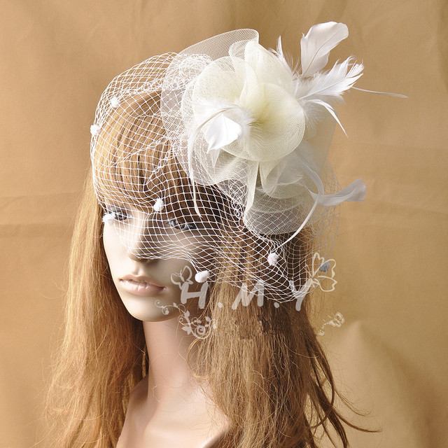 Original Design Ivory Wedding Veil Hats With Feather and Flower Decoration Romantic Wedding Party Small Bridal Hats