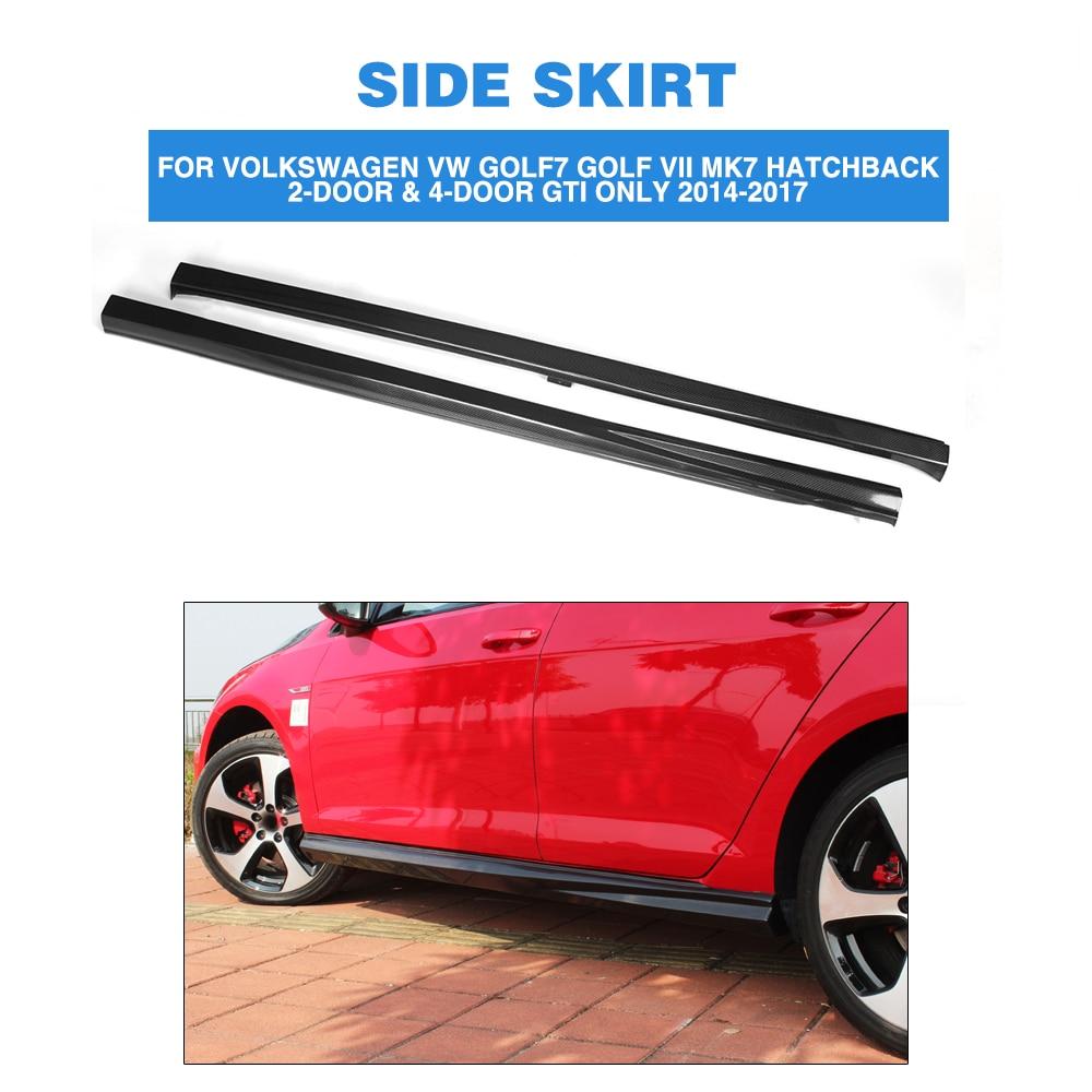 Carbon Fiber / FRP Car Side Skirts Extension Lips For Volkswagen VW Golf 7 VII MK7 GTI Only 2014 - 2017 Side Bumper Apron