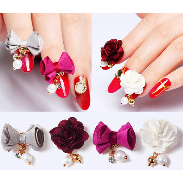 1Pc Charm 3D Nail Art Magnet Flower Bownot Detachable DIY Cloth Bead Decoration