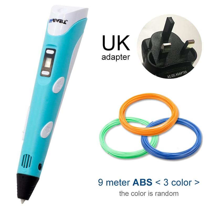Myriwell, 3D ручка, светодиодный экран, сделай сам, 3D Ручка для печати, 100 м, ABS нити, креативная игрушка, подарок для детей, дизайнерский рисунок - Цвет: Blue UK