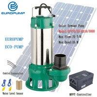 EUROPUMP 4HP Solar Pump DC solar Sewage pumps Max flow 70000 L/H Lift 35M solar Slush pump MODEL(SPV70/35 D216/3000)