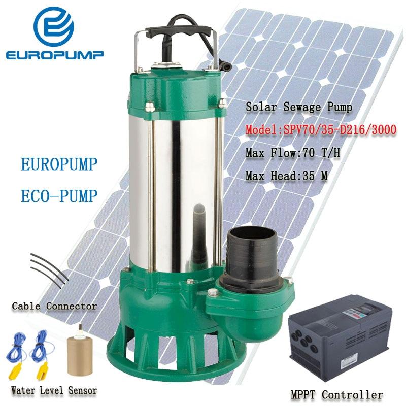 Pompe solaire EUROPUMP 4HP pompes à eaux usées solaires DC débit Max 70000 L/H ascenseur 35 M modèle de pompe à neige fondue solaire (SPV70/35-D216/3000)