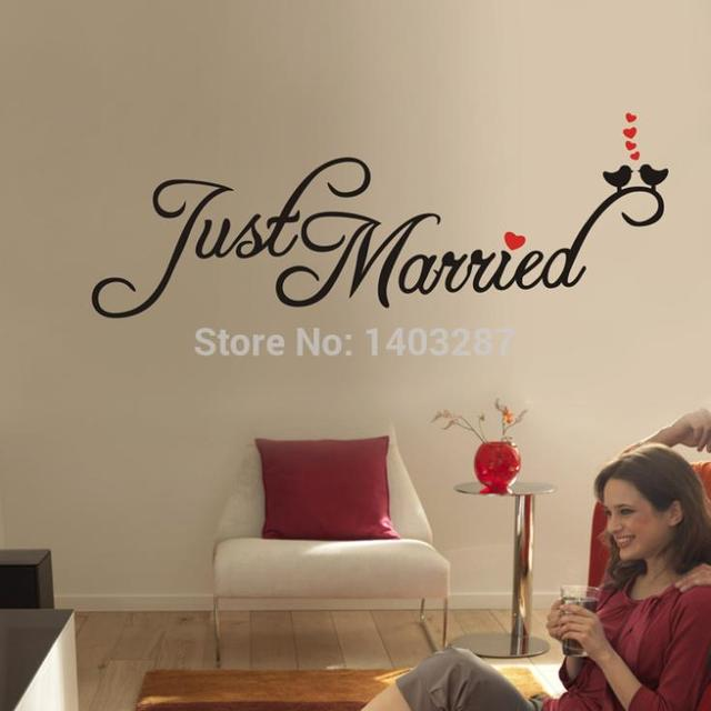 just married quality vinyl black wall sticker sentences love quotes