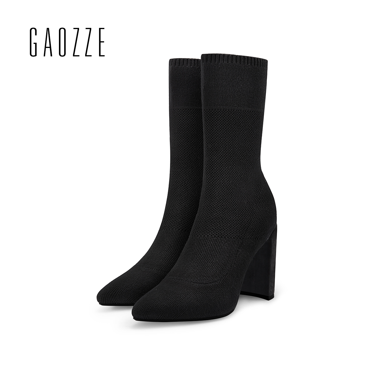 GAOZZE Fashion Women Socks Boots Mid-Calf Thick High Heels Boots Women Comfortable Elastic Knitted Fabric Female Boots Brand gaozze fashion women socks boots mid calf thick high heels boots women comfortable elastic knitted fabric female boots brand