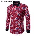 New Style British Union Jack flag Printing Men Shirts Fashion Long Sleeve Casual Male Shirt Camisa masculina Slim Fit Shirt tops