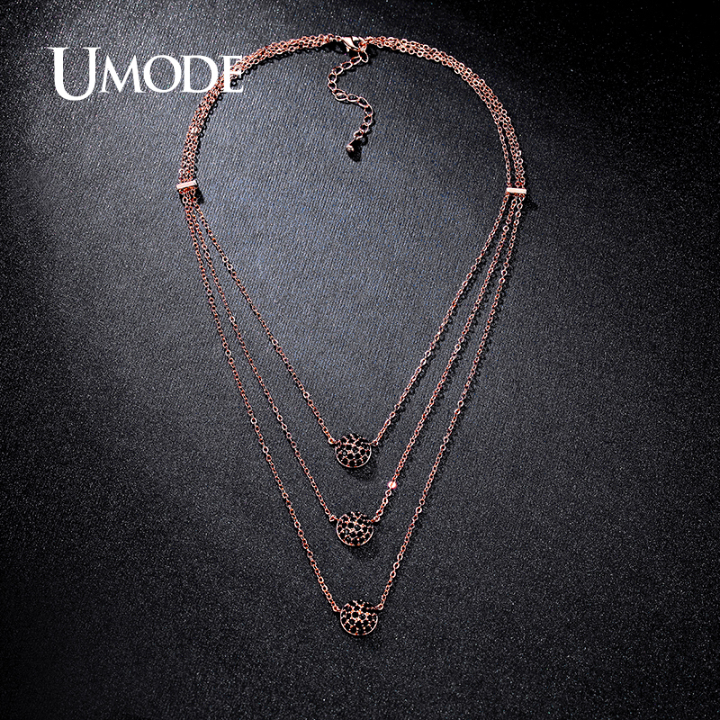 d1a447653816cf Detail Feedback Questions about UMODE Rare Black Micro CZ Paved 3 Layers  Rose Gold Color Zirconia Choker Necklaces Jewelry for Women 2016 New Bijoux  UN0230D ...