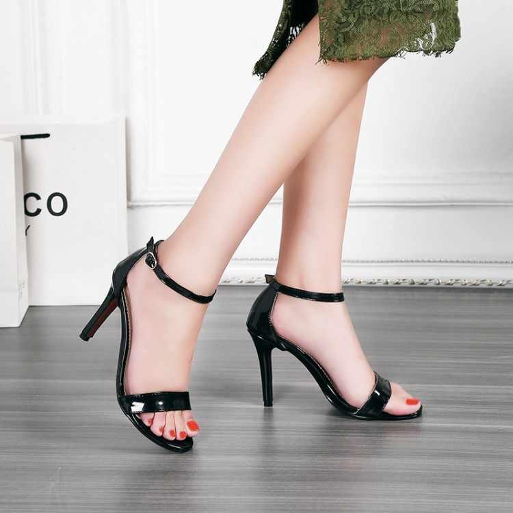 גדול גודל 11 12 13 14 עקבים גבוהים סנדלי נשים נעלי אישה קיץ גבירותיי טהור צבע עדינות עקבים גבוהה עקב סנדלי