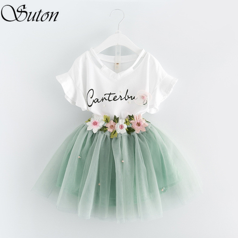 2017 New Girl clothing Sets White V-neck Flare Sleeve T-Shirt +Flower Skirt 2Pcs Suit Princess Kids Clothes 3-8 Years Pink/Blue humor bear baby girl clothes set new sequins letter long sleeve t shirt stars skirt 2pcs girl clothing sets kids clothes