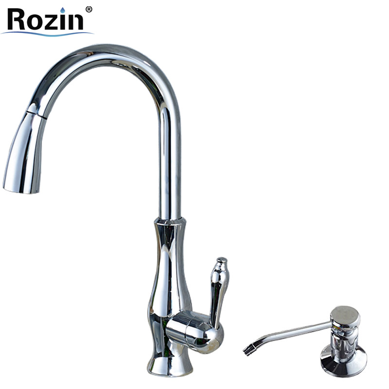 Bright Chrome Pull Out Kitchen Faucet Deck Mounted Single Hole Kitchen Sink Mixer Taps with 220 ml Soap Dispenser single lever deck mounted pull out chrome bathroom kitchen mixer tap faucet leon60