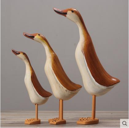 Artisanat de canard de style campagnard, forme de canard animal en bois, décoration de la maison, cadeaux créatifs