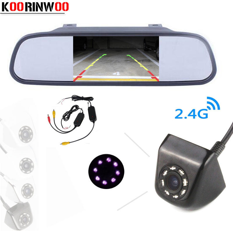 Koorinwoo sans fil 5 pouces miroir moniteur tft lcd 800*480 avec système vidéo de stationnement CCD 8 IR voiture vue arrière caméra aide au stationnement