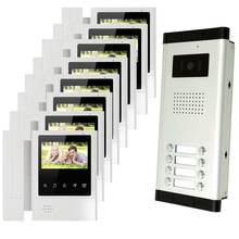 8 units apartment intercom system video doorbell intercom system for apartments video door phone night vision camera