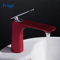 Frap Contemporary Red Basin Faucet Water Tap Bathroom Faucet Solid Brass Single Handle Sink Cold and Hot Water Mixer Tap Y10039