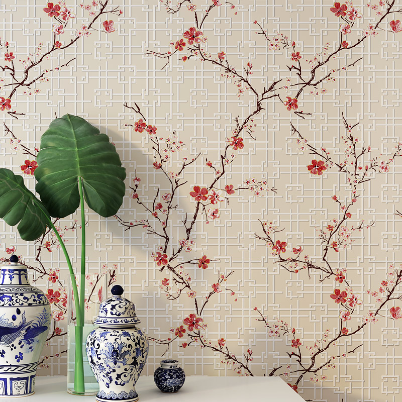 New Chinese Style Wallpaper Modern Classical  Bedroom Living Room TV Sofa Red Yellow Violet Blue Flower Nonwoven Wall paper free shipping chinese ink classical retro wallpaper mural living room tv room wallpaper