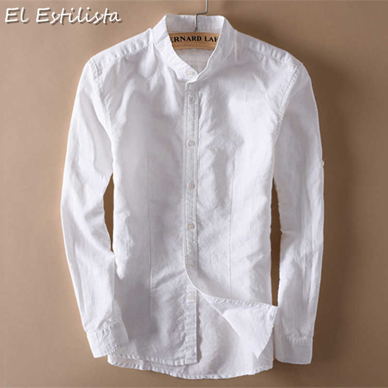 1615e641e4 Fashion Mens Cotton Linen Shirts Classic Mens Chinese Mandarin Collar Long  Sleeve Slim Solid White Breathable