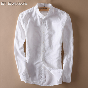 Image 4 - אופנה גברים כותנה פשתן חולצות קלאסי גברים הסיני מנדרינית צווארון ארוך שרוול Slim מוצק לבן לנשימה רך פשתן חולצה XXL