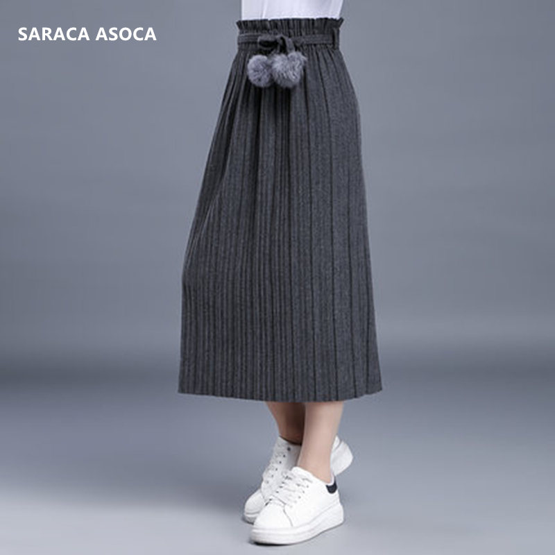 Autumn Winter Casual Pleated Thick Knit Long Skirt For Girls All-Match Elastic Waist Mid-calf Bust Winter Skirt Women's