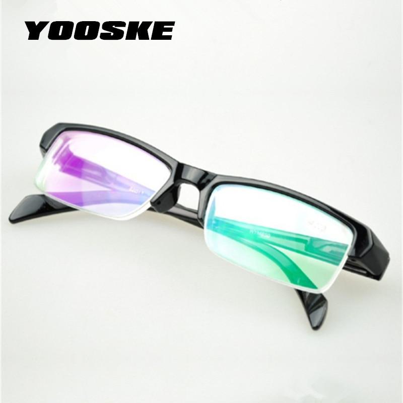 YOOSKE Half Frame HD Resin Myopia Glasses Women High Quality Cheap Black Frams Prescription -2.5 -1.5 Eyeglasses Men Minus Lens