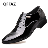 QFFAZ New High Quality Luxury Brand Men Casual Shoes Style Patent Leather Flat Lace Up Oxford