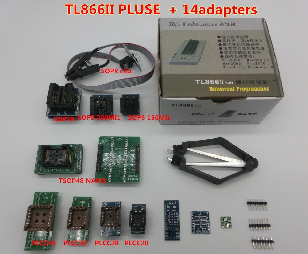 100% オリジナル新加入 XGecu TL866II プラスユニバーサルプログラマ + 14 アダプタ + TSOP32 TSOP48 アダプタ + テストクリップ  グループ上の 電子部品 & 用品 からの 集積回路 の中 1