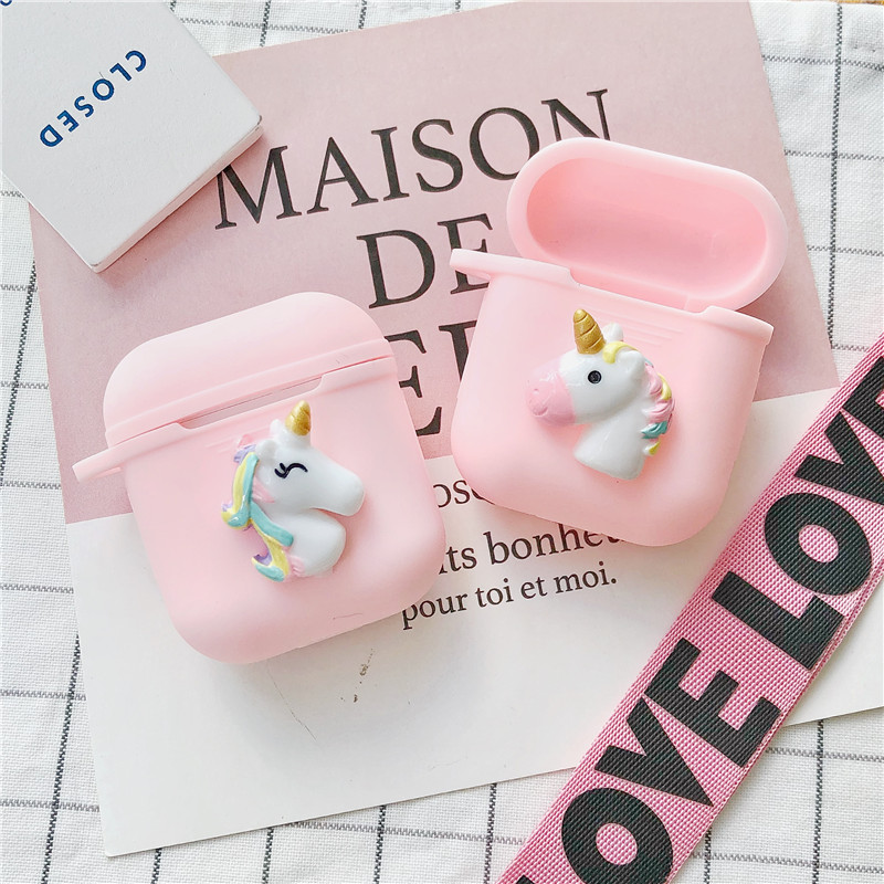 Cute unicorn Silicone Case For Apple Airpods Accessories Bluetooth Earphones Cute Special Decoration Case Cover Anti lost Gifts in Earphone Accessories from Consumer Electronics